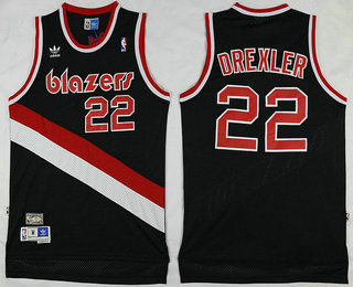 Latest Portland Trail Jersey Blazers #22 Clyde Drexler Black Hardwood Classics Soul Swingman Throwback GAF3471