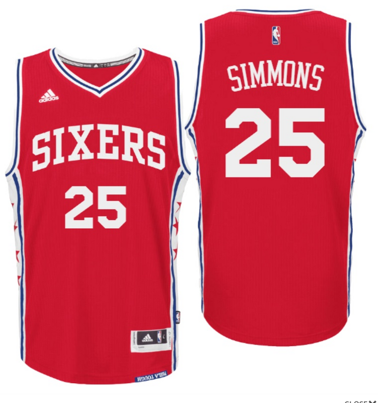 New 2016 Draft 76ers #25 Ben Simmons Home Red Swingman Gear FIP3233