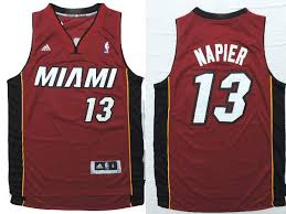 New Miami Heat 13 Shabazz Napier Revolution 30 Basketball Swingman Road Red TRK2639