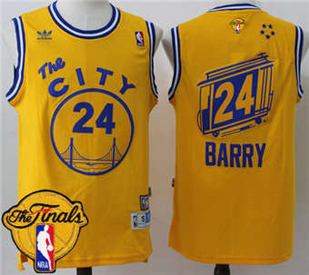 82bc23998 Online Cheap 2018 Warriors Merchandise  24 Rick Barry Gold Throwback The  City The Finals Patch