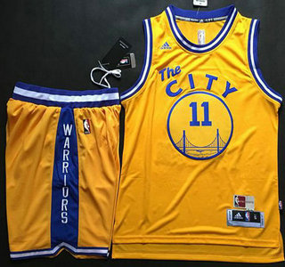 Online sales Golden Apparel State Warriors #11 Klay Thompson Revolution 30 Swingman 2015 16 Retro Gold Short Suits OIN4216