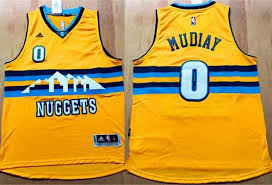 Order Denver Nuggets #0 Emmanuel Mudiay Apparel Yellow Alternate Stitched DRU1319