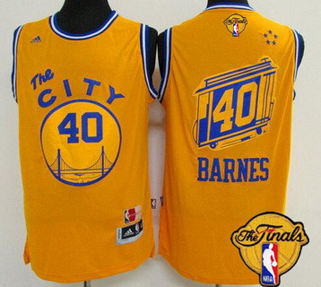 Wholesale Golden State Warriors #40 Harrison Barnes Retro Yellow 2016 The Finals Patch Jersey CRX36
